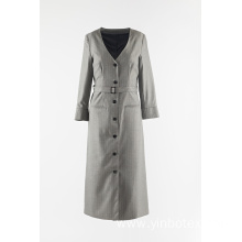 Ladies long stripe dust coat